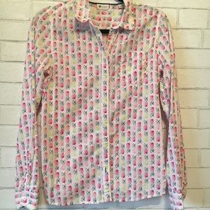 Neon pineapple button down M